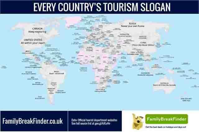 9987 - Карта стран с худшими и лучшими туристическими слоганами